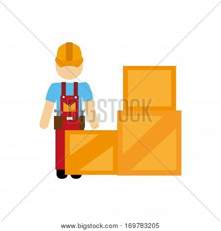 color silhouette with package and person dispatcher vector illustration