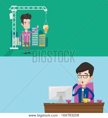 Two business banners with space for text. Vector flat design. Horizontal layout. Sleepy tired businessman yawning while working in office. Exhausted businessman yawning and drinking coffee at work.