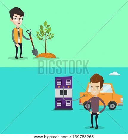 Two ecology banners with space for text. Vector flat design. Horizontal layout. Young man charging electric car at charging station. Cheerful man standing near power supply for electric car charging.