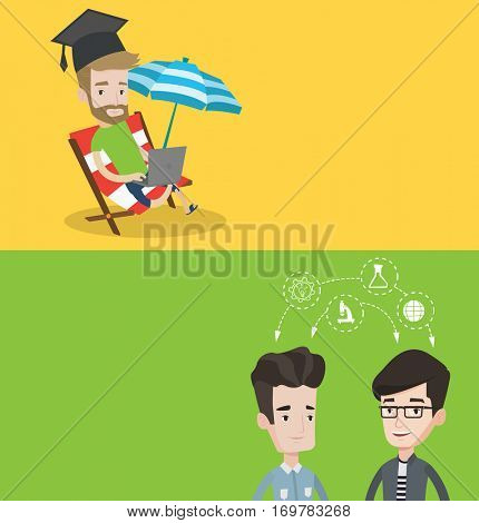 Two educational banners with space for text. Vector flat design. Horizontal layout. Graduate lying in chaise longue. and working on laptop. Student studying distantly. Concept of distance education.
