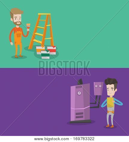Two construction banners with space for text. Vector flat design. Horizontal layout. Caucasian plumber making some notes in his clipboard. Young plumber inspecting heating system in boiler room.