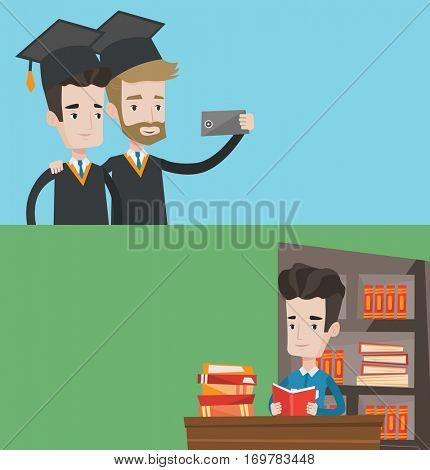 Two educational banners with space for text. Vector flat design. Horizontal layout. Cheerful graduates in cloaks and graduation caps making selfie. Excited graduates making selfie with cellphone.