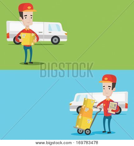 Two industrial banners with space for text. Vector flat design. Horizontal layout. Delivery man with cardboard boxes on troley. Delivery man with clipboard. Delivery man standing in front of van.