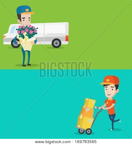 Two industrial banners with space for text. Vector flat design. Horizontal layout. Delivery courier with bouquet of flowers. Delivery man holding bouquet of flowers. Delivery man delivering flowers.