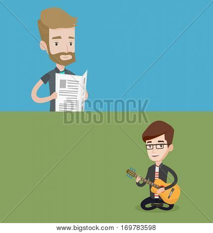 Two media banners with space for text. Vector flat design. Horizontal layout. Hipster man reading the newspaper. Young smiling man reading good news in newspaper. Man standing with newspaper in hands.