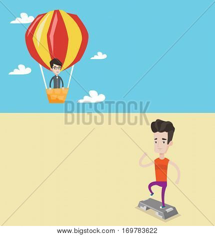 Two lifestyle banners with space for text. Vector flat design. Horizontal layout. Young man doing step exercises. Man training with stepper. Man working out with stepper. Sportsman standing on stepper