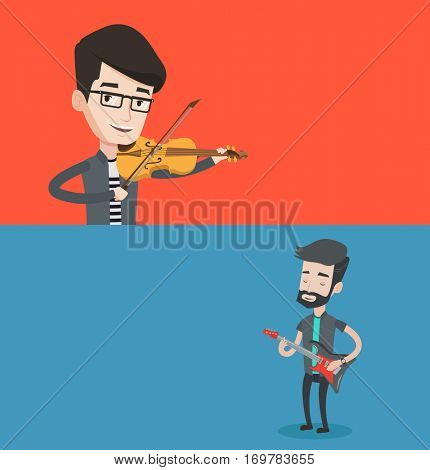 Two media banners with space for text. Vector flat design. Horizontal layout. Young smiling man playing violin. Violinist playing classical music on violin. Hipster musician playing electric guitar.