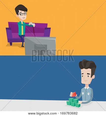 Two media banners with space for text. Vector flat design. Horizontal layout. Gamer sitting on sofa and playing video game on television. Man with gaming console in hands playing video game at home.