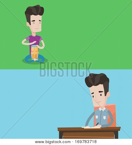 Two media banners with space for text. Vector flat design. Horizontal layout. Young man playing ethnic drum. Mucisian playing ethnic drum. Journalist sitting at the table and writing notes with pencil