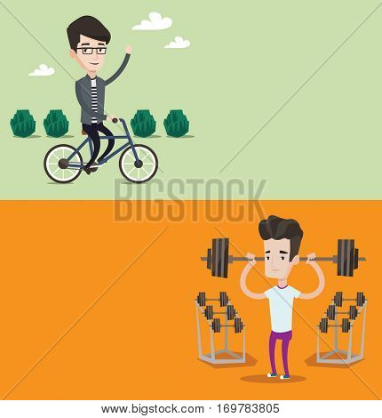 Two lifestyle banners with space for text. Vector flat design. Horizontal layout. Young man riding a bicycle in the park. Caucasian cyclist riding bike and waving his hand. Healthy lifestyle concept.