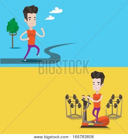 Two lifestyle banners with space for text. Vector flat design. Horizontal layout. Young man running outdoors. Sportsman running in the park. Caucasian man exercising on elliptical trainer in the gym.