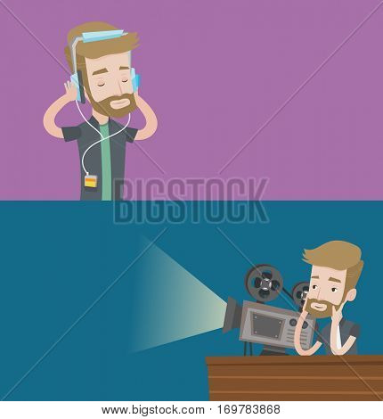 Two media banners with space for text. Vector flat design. Horizontal layout. Man listening to music on his smartphone. Young man in headphones listening to music. Man with eyes closed enjoying music.