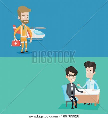Two medical banners with space for text. Vector flat design. Horizontal layout. Doctor consulting patient. Doctor talking with patient about his state of health. Patient at consultation at doctor.