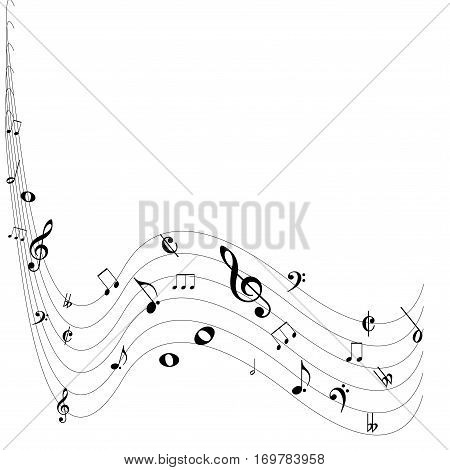 Creative music note design isolated on white