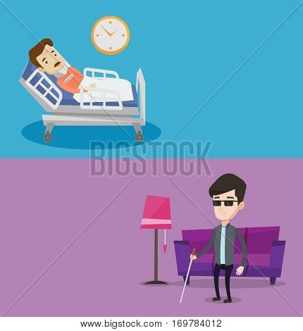 Two medical banners with space for text. Vector flat design. Horizontal layout. Man wearing cervical collar and suffering from neck pain. Patient with injured neck lying in bed. Man with neck brace.
