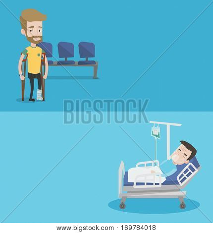 Two medical banners with space for text. Vector flat design. Horizontal layout. Injured hipster caucasian man with leg in plaster. Man with broken leg using crutches. Young man with fractured leg.