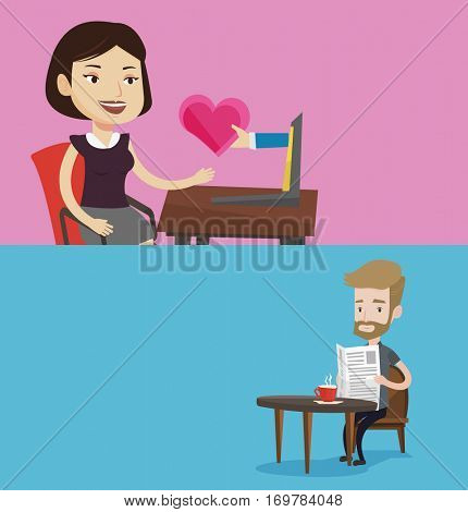 Two media banners with space for text. Vector flat design. Horizontal layout. Woman dating online. Woman looking for online date on the internet. Girl getting virtual love message on the internet.