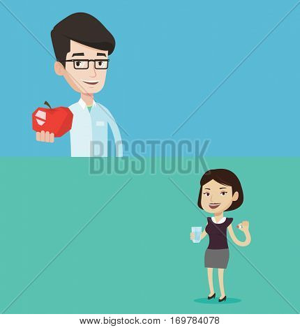 Two medical banners with space for text. Vector flat design. Horizontal layout. Nutritionist prescribing diet and healthy eating. Smiling nutritionist holding an apple. Nutritionist offering an apple.