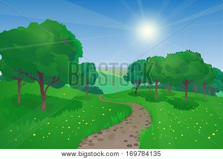 Vector summer landscape with trees and road