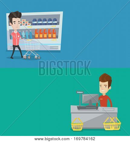 Two shopping banners with space for text. Vector flat design. Horizontal layout. Customer pushing an empty supermarket cart. Customer shopping at supermarket with cart. Customer walking with trolley.
