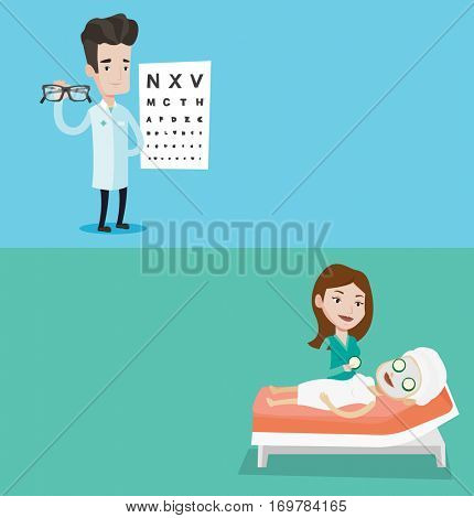 Two medical banners with space for text. Vector flat design. Horizontal layout. Male ophthalmologist offering eyeglasses. Caucasian ophthalmologist holding eyeglasses on the background of eye chart.