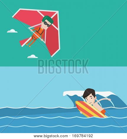 Two sport banners with space for text. Vector flat design. Horizontal layout. Man flying on hang-glider. Man taking part in hang gliding competitions. Man having fun while gliding on delta-plane.