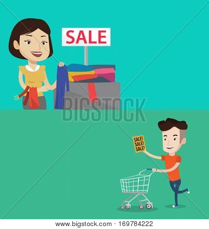 Two shopping banners with space for text. Vector flat design. Horizontal layout. Woman buying clothes at store on sale. Woman choosing clothes in shop on sale. Young caucasian man running on big sale.