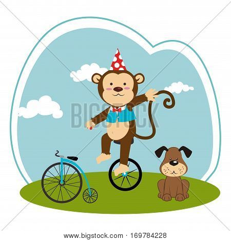 color landscape with dog and monkey in unicycle vector illustration