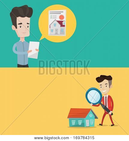 Two real estate banners with space for text. Vector flat design. Horizontal layout. Man seeking for house on a tablet. Man using tablet to search the house. Businessman using loupe to search the house