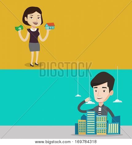 Two real estate banners with space for text. Vector flat design. Horizontal layout. Happy woman having loan for house. Young caucasian woman got loan for buying a new house. Real estate loan concept.