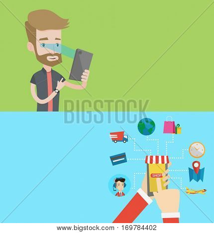 Two technology banners with space for text. Vector flat design. Horizontal layout. Caucasian man using smart mobile phone with retina scanner. Young man using iris scanner to unlock his mobile phone.