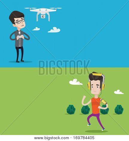 Two technology banners with space for text. Vector flat design. Horizontal layout. Caucasian man flying drone with remote control. Man operating a drone with remote control. Man controling a drone.