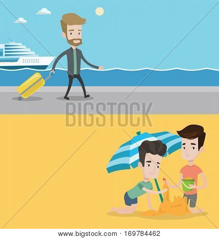 Two travel banners with space for text. Vector flat design. Horizontal layout. Young caucasian friends making sand castle on the beach under beach umbrella. Friends building sandcastle on the beach.