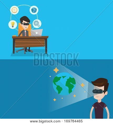 Two technology banners with space for text. Vector flat design. Horizontal layout. Businessman wearing virtual reality headset and working on computer. Man using virtual reality device in office.