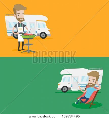 Two travel banners with space for text. Vector flat design. Horizontal layout. Man cooking barbecue on the background of camper van. Man travelling by camper van. Man enjoying vacation in camper van.