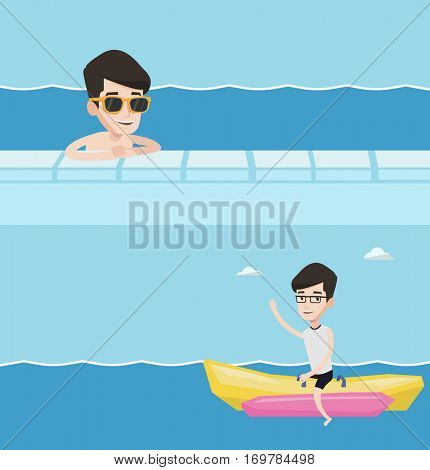 Two travel banners with space for text. Vector flat design. Horizontal layout. Happy smiling man relaxing in swimming pool at resort. Young man bathing in swimming pool. Cheerful guy in swimming pool.