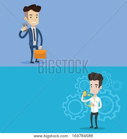 Two technology banners with space for text. Vector flat design. Horizontal layout. Young man showing his smartphone and smart watch. Concept of synchronization between smartwatch and smartphone.