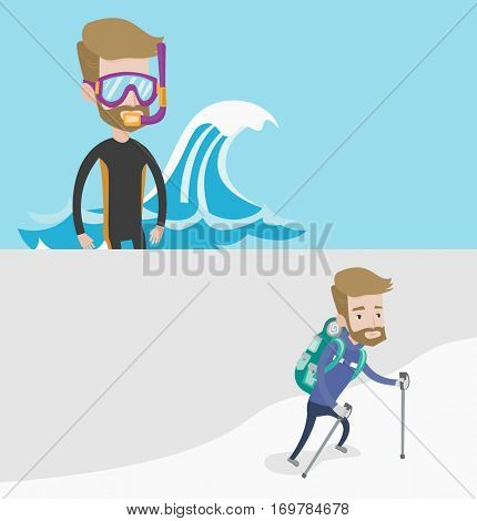 Two travel banners with space for text. Vector flat design. Horizontal layout. Mountaneer climbing a snowy ridge. Hiker climbing a mountain. Mountaineer with backpack walking up along a snowy ridge.