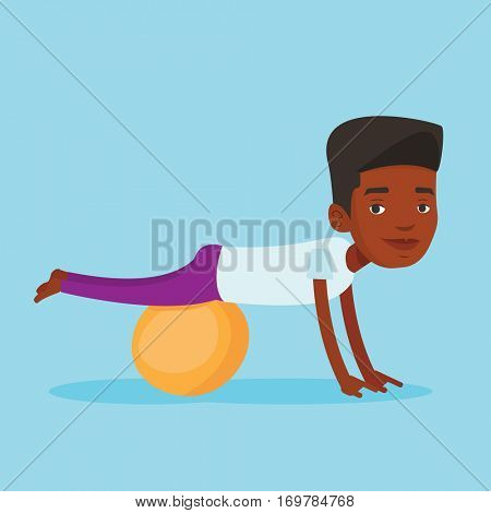 An african-american young man exercising with fitball. Man training triceps and biceps while doing push ups on fitball. Man doing exercises on fitball. Vector flat design illustration. Square layout