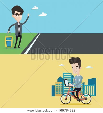 Two transportation banners with space for text. Vector flat design. Horizontal layout. Man riding a bicycle to work. Cyclist riding bike in city. Businessman working on laptop while riding a bicycle.