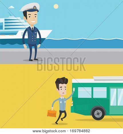 Two transportation banners with space for text. Vector flat design. Horizontal layout. Caucasian businessman running to catch bus. Businessman running for an outgoing bus. Latecomer man chasing a bus.