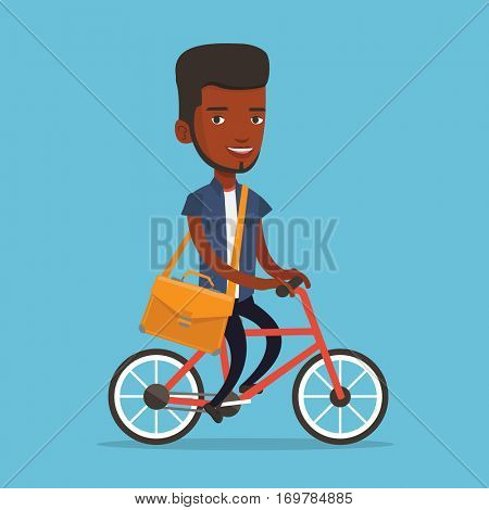 An african-american young business man riding a bicycle. Cyclist riding a bicycle. Business man with briefcase on a bicycle. Healthy lifestyle concept. Vector flat design illustration. Square layout.