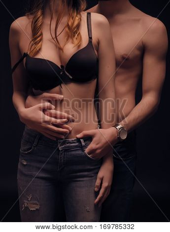 Couple Upper Body Sexy Touching Body Nude Shirtless Bra