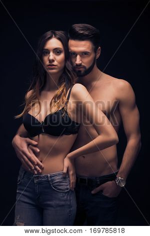 Sexy Young Couple Intimate, Looking At Camera, Bra Shirtless Jeans