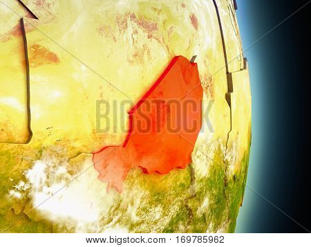 Niger In Red From Space