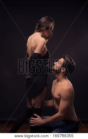 Yonng Couple Sexy Passion Stocking Legs