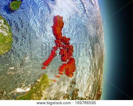 Philippines In Red From Space
