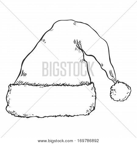 Vector Single Sketch Santa Claus Hat