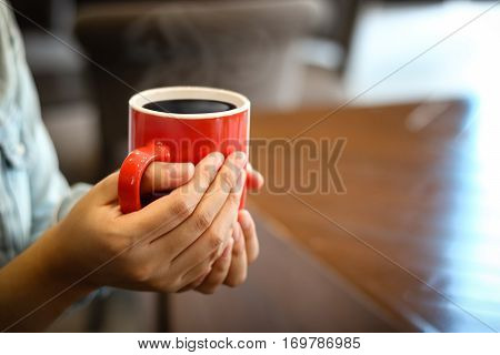 Red Cup Of Coffee On Vintage Wood. Top View , Cup On Wooden Table. View From Top , Break Or Breakfas