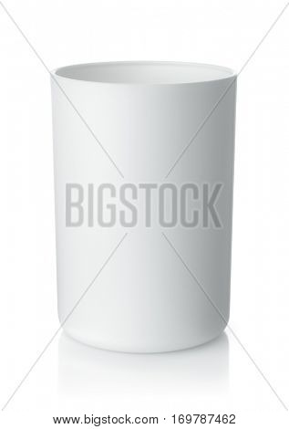 Blank white plastic cup isolated on white